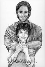 Detailed pencil drawn comfort portrait of Jesus and young girl