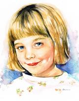 WAtercolor Portrait of a Young Girl Realistically Rendered