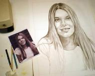 Young Woman's Pencil Portrait in Process